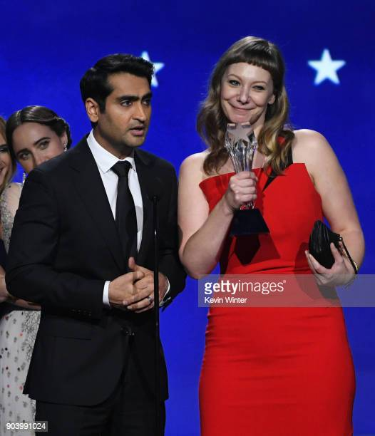 Actor/writer Kumail Nanjiani and writer Emily V Gordon accept Best Comedy for 'The Big Sick' onstage during The 23rd Annual Critics' Choice Awards at...