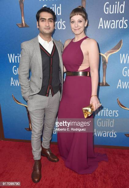 Actorwriter Kumail Nanjiani and writer Emily V Gordon attend the 2018 Writers Guild Awards LA Ceremony at The Beverly Hilton Hotel on February 11...