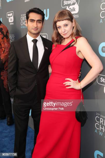 Actor/writer Kumail Nanjiani and writer Emily V Gordon attend The 23rd Annual Critics' Choice Awards at Barker Hangar on January 11 2018 in Santa...