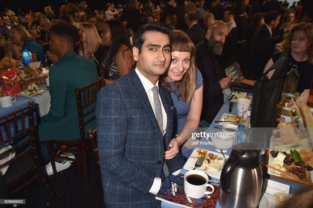 Actor/writer Kumail Nanjiani (L) and writer Emily V. Gordon with FIJI Water during the 33rd Annual Film Independent Spirit Awards on March 3, 2018 in Santa Monica, California.