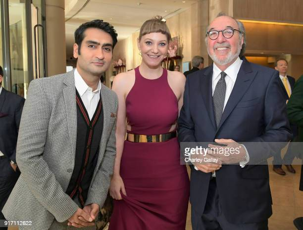 Actorwriter Kumail Nanjiani writer Emily V Gordon and James L Brooks attend the 2018 Writers Guild Awards LA Ceremony at The Beverly Hilton Hotel on...