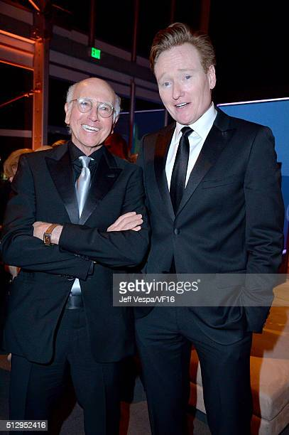 Actor/writer Larry David and TV personality Conan O'Brien attend the 2016 Vanity Fair Oscar Party Hosted By Graydon Carter at the Wallis Annenberg...