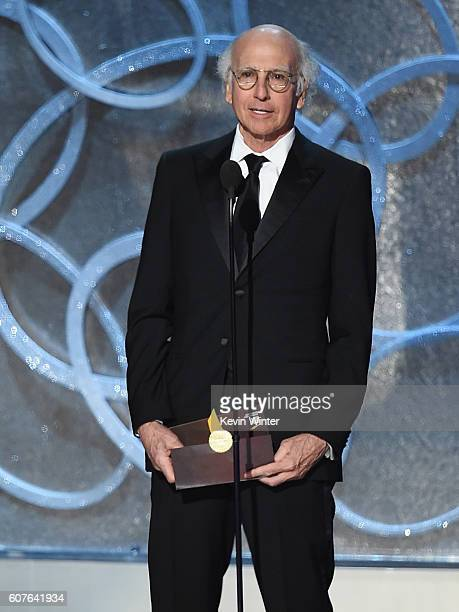 Actor/writer Larry David speaks onstage during the 68th Annual Primetime Emmy Awards at Microsoft Theater on September 18 2016 in Los Angeles...