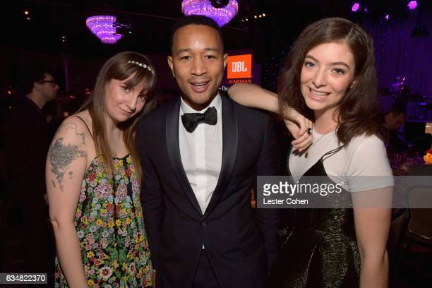 Actor/writer Lena Dunham musician John Legend and singer Lorde attend PreGRAMMY Gala and Salute to Industry Icons Honoring Debra Lee at The Beverly...