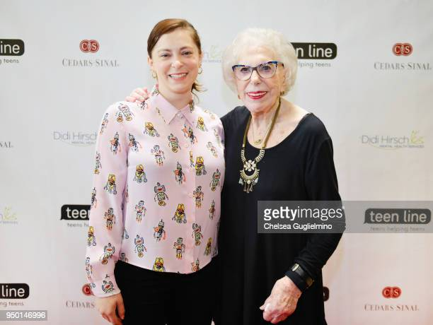 Actor/writer Rachel Bloom and Teen Line Founder Elaine Leader PhD arrive at Teen Line 2018 Food For Thought Brunch hosted by Rachel Bloom at UCLA...