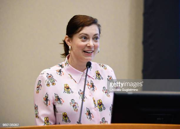 Actor/writer Rachel Bloom speaks at Teen Line 2018 Food For Thought Brunch hosted by Rachel Bloom at UCLA Carnesale Commons on April 22 2018 in Los...