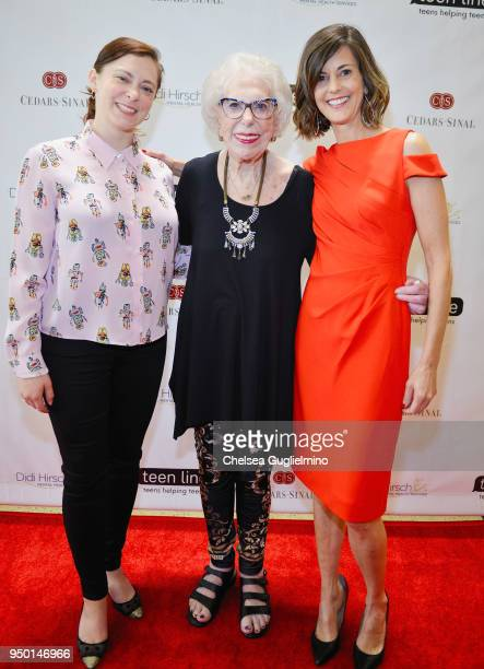 Actor/writer Rachel Bloom Teen Line Founder Elaine Leader PhD and Executive Director of Teen Line Michelle Carlson MPH arrive at Teen Line 2018 Food...