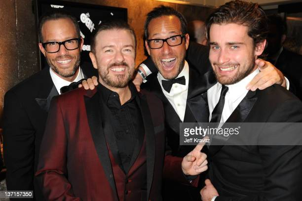 Actorwriter Ricky Gervais and guests attend HBO's Official After Party for the 69th Annual Golden Globe Awards held at The Beverly Hilton hotel on...