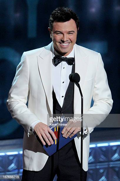 Actor/writer Seth MacFarlane speaks onstage during the 64th Annual Primetime Emmy Awards at Nokia Theatre LA Live on September 23 2012 in Los Angeles...