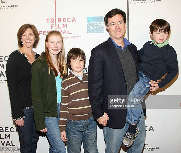 Actor/writer Stephen Colbert wife Evelyn McGee and family attend the premiere of Speed Racer during the 2008 Tribeca Film Festival on May 3 2008 in...