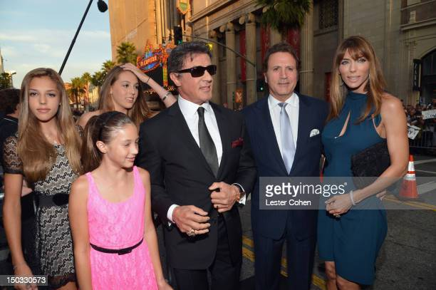 Actor/writer Sylvester Stallone actress Jennifer Flavin and daugthers Sophia Sistin and Scarlet arrive at 'The Expendables 2' Los Angeles Premiere at...