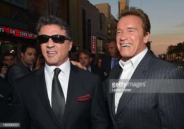 Actor/writer Sylvester Stallone and actor Arnold Schwarzenegger arrive at 'The Expendables 2' Los Angeles Premiere at Grauman's Chinese Theatre on...
