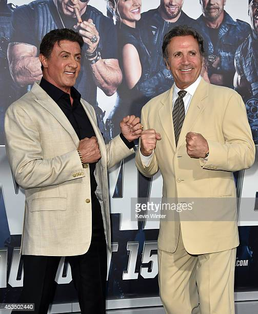 Actor/writer Sylvester Stallone and actor Frank Stallone attend the premiere of Lionsgate Films' 'The Expendables 3' at TCL Chinese Theatre on August...