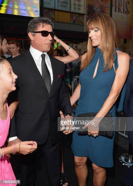 Actor/writer Sylvester Stallone and actress Jennifer Flavin arrive at 'The Expendables 2' Los Angeles Premiere at Grauman's Chinese Theatre on August...