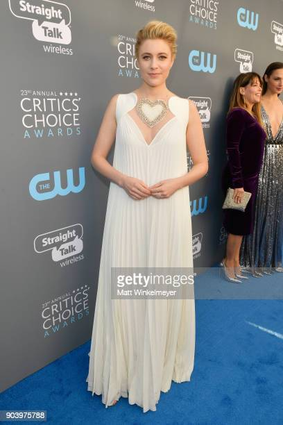 Actor/writer/director Greta Gerwig attends The 23rd Annual Critics' Choice Awards at Barker Hangar on January 11 2018 in Santa Monica California