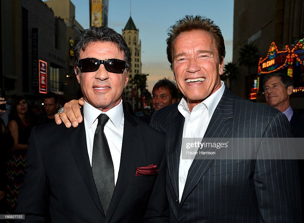 Actor/Writer/Director Sylvester Stallone and actor Arnold Schwarzenegger arrive at Lionsgate Films' 'The Expendables 2' premiere on August 15, 2012 in Hollywood, California.
