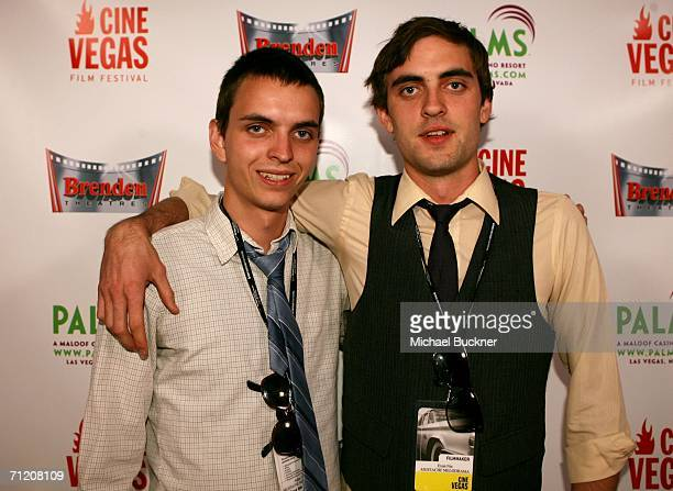 Actor/writer/editor Adam Nix and writer/director Evan Nix of the fim Mustache Melodrama arrive at the CCSN Showcase at the Brenden Theatres inside...