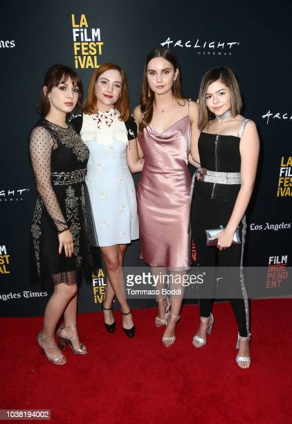 Actor/writer/executive producer Hannah Marks and actors Haley Ramm Liana Liberato and Addison Riecke attend the 'BANANA SPLIT' premiere at the Los...