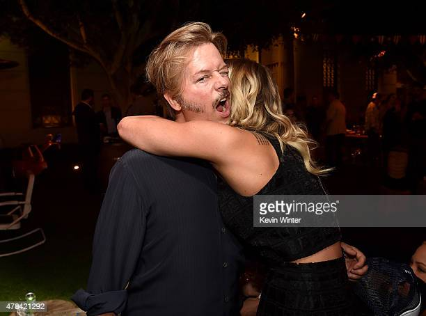 Actor/writer/producer David Spade and actress Brittany Daniel pose at the after party for the premiere of Crackle's Joe Dirt 2 Beautiful Loser at...