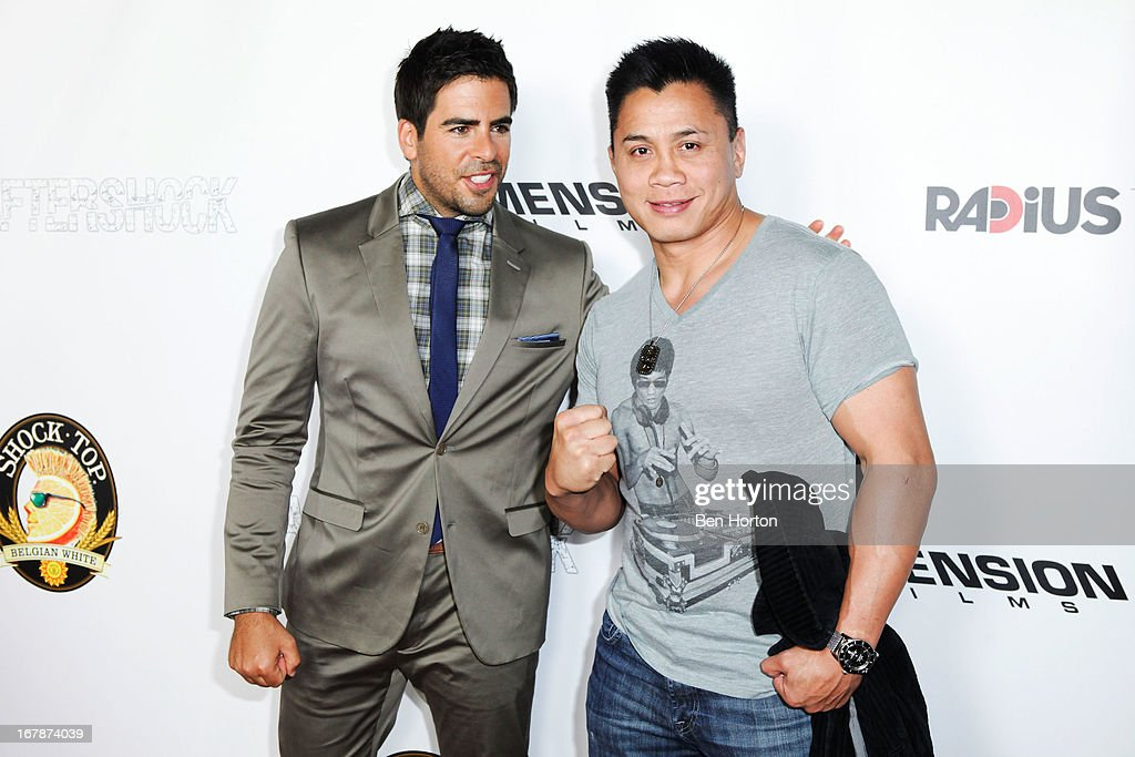 Actor/writer/producer Eli Roth and UFC fighter Chung Lee attends the premiere of 'Aftershock' at Mann Chinese 6 on May 1, 2013 in Los Angeles, California.