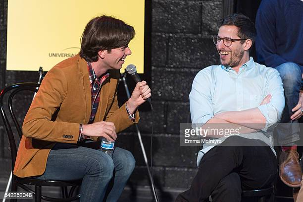 Actor/writer/producer John Mulaney and actor/comedian Andy Samberg speak onstage at the FYC at UCB panel for 'Brooklyn NineNine' at UCB Sunset...