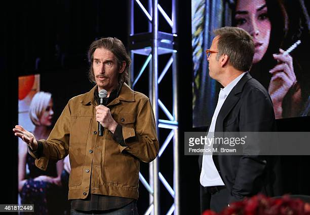 Actor/Writer/Producer Ray McKinnon and producer Mark Johnson speak onstage during the 'Sundance Channel - Rectify' panel discussion at the...