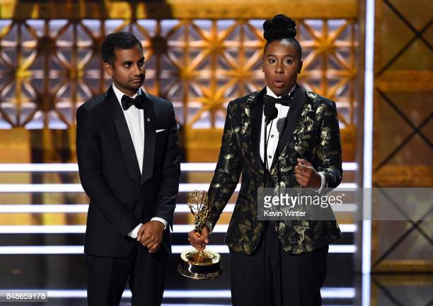 Actor/writers Aziz Ansari and Lena Waithe accept Outstanding Writing for a Comedy Series for 'Master of None' onstage during the 69th Annual...