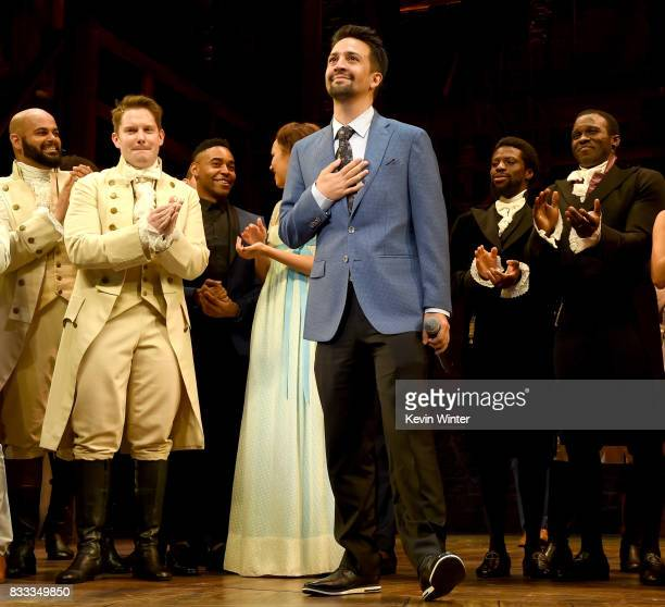 Actor/writer/songwriter LinManuel Miranda and the cast appear onstage at the opening night curtain call for 'Hamilton' at the Pantages Theatre on...