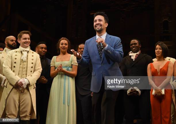 Actor/writer/songwriter LinManuel Miranda and the cast appear onstage at the opening night curtain call for Hamilton at the Pantages Theatre on...