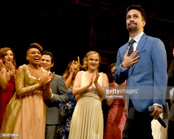 "Actor/writer/songwriter Lin-Manuel Miranda and the cast appear onstage at the opening night curtain call for ""Hamilton"" at the Pantages Theatre on..."