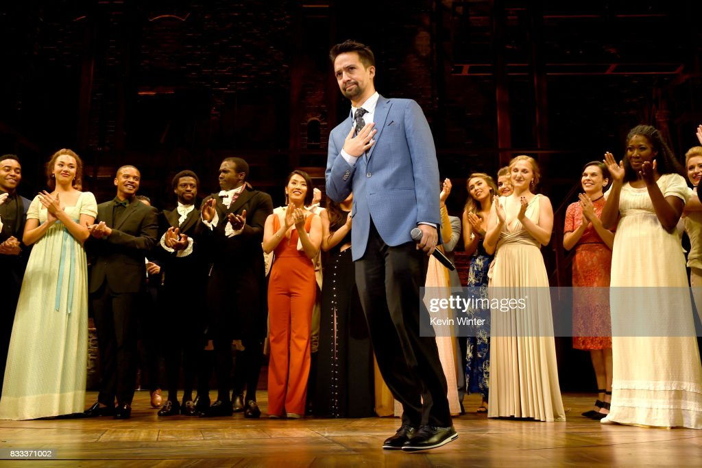 Actor/writer/songwriter Lin-Manuel Miranda and the cast appear onstage at the opening night curtain call for 'Hamilton' at the Pantages Theatre on August 16, 2017 in Los Angeles, California.