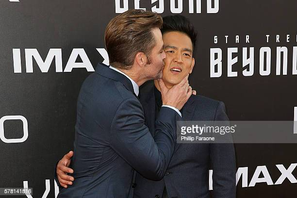 Actos Chris Pine and John Cho attend the premiere of Paramount Pictures' Star Trek Beyond at Embarcadero Marina Park South on July 20 2016 in San...