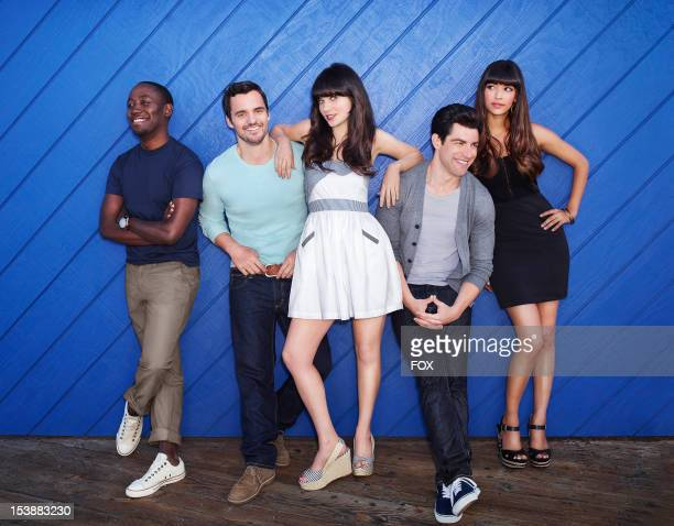 Actos Lamorne Morris, Jake Johnson, Zooey Deschanel, Max Greenfield and Hannah Simone on Season Two of NEW GIRL airing Tuesdays on FOX.