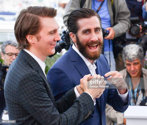 Actos Paul Dano and Jake Gyllenhaal attends the 'Okja' photocall during the 70th annual Cannes Film Festival at Palais des Festivals on May 19 2017...