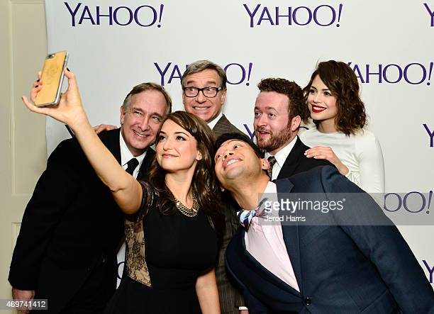 Actos Trace Beaulieu and Milana Vayntrub executive producer Paul Feig and actors Eugene Cordero Neil Casey and Conor Leslie take a selfie at Yahoo...