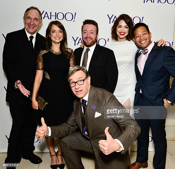 Actos Trace Beaulieu and Milana Vayntrub executive producer Paul Feig and actors Neil Casey Conor Leslie and Eugene Cordero attend Yahoo Screen...