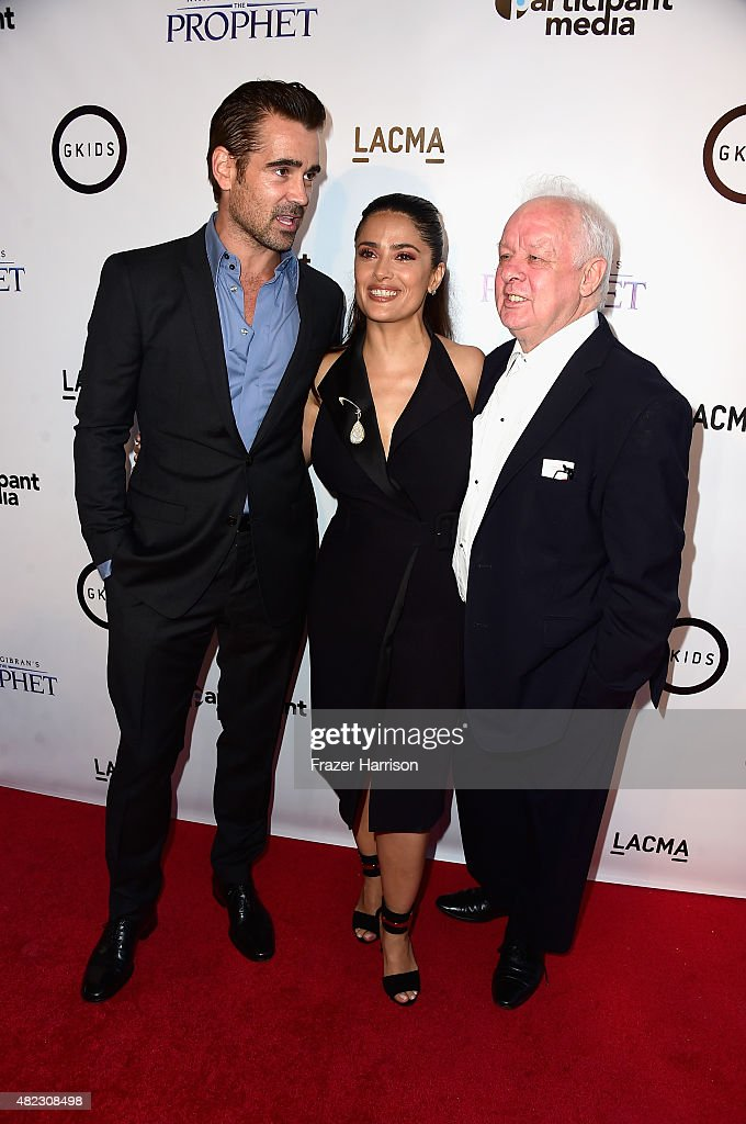 Actosr Colin Farrell, Salma Hayek and directorJim Sheridan arrive at the Screening of GKIDS' 'Kahlil Gibran's The Prophet' at Bing Theatre At LACMA on July 29, 2015 in Los Angeles, California.