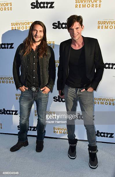Actosr Zach Mcgowan and Toby Schmitz arrives at the Premiere Of Starz 'Survivor's Remorse' at Wallis Annenberg Center for the Performing Arts on...