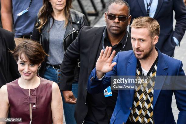 Actress Claire Foy and actor Ryan Gosling attends 'First Man' photocall during 66th San Sebastian Film Festival on September 24 2018 in San Sebastian...