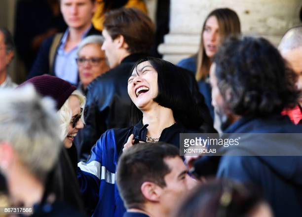 Actrees Doona Bae smile on the set of Netflix TV scifi series 'Sense8' in the Station in Naples
