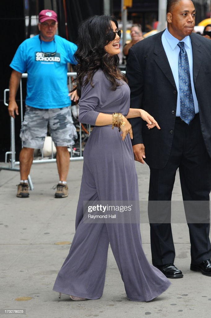 Actrees Salma Hayek is seen outside 'Good Morning America' taping at the ABC Times Square Studios on July 11, 2013 in New York City.