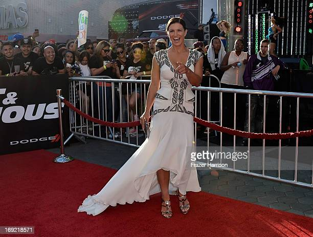 """Actreess Gina Carano arrives at the Premiere Of Universal Pictures' """"Fast & Furious 6"""" on May 21, 2013 in Universal City, California."""