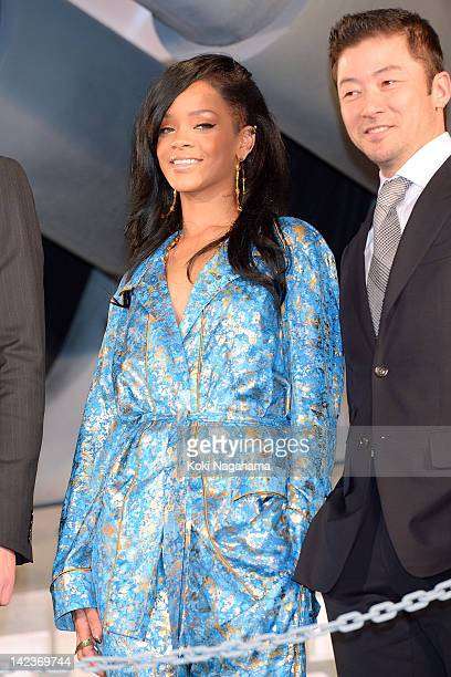Actrees/Singer Rihanna and Actor Tadanobu Asano attends the 'Battleship' Japan Premiere at International Yoyogi first gymnasium on April 3 2012 in...