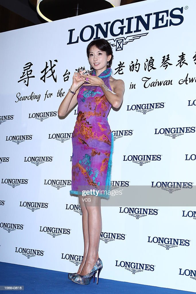 Actres Chiling Lin attends Longines promotional event at Pacific SOGO department store on November 22, 2012 in Taipei, Taiwan.