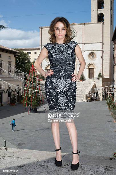 Actres Francesca Neri poses during a photocall for the 'Una Famiglia Perfetta' on October 1, 2012 in Todi, Italy.