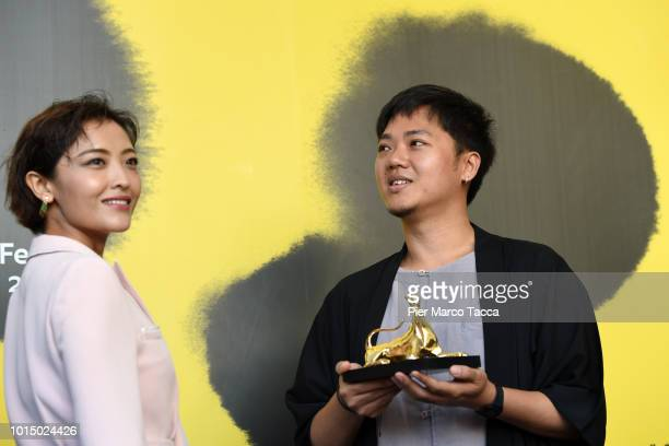 Actres Luna Kwok Director Yeo Siew Hua pose with Pardo D'oro of International Competition Grand Prize of the City of Locarno at the Palmares...