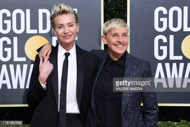 Actres Portia de Rossi and US comedian Ellen DeGeneres arrives for the 77th annual Golden Globe Awards on January 5 at The Beverly Hilton hotel in...