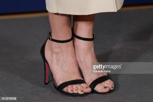 Actres Thais Blume shoes detail attends 'VII Premios Mujer Hoy' at Casino on January 30 2018 in Madrid Spain