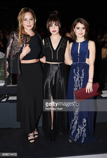 Actreses Abbie Cornish Bailee Madison and Sami Gayle attend BCBGMAXAZRIA Front Row Fall 2016 New York Fashion Week The Shows at The Arc Skylight at...