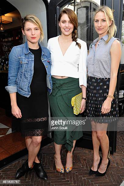 Actreses Amy Seimetz Greta Gerwig and Mickey Sumner arrive at Lynn Hirschberg celebrates W's It Girls with Lancome and Dom Perignon at AOC on January...